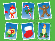 Christmas stamp set. Vector illustration of various stamps Royalty Free Stock Photo