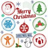 Christmas stamp set Stock Photos