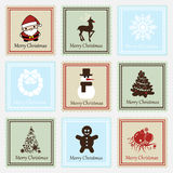 Christmas stamp set Royalty Free Stock Photo