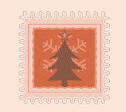 Christmas Stamp Tree and Snow Flake Royalty Free Stock Images