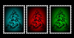 Christmas stamps. With trees Stock Photo