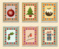 Christmas stamps. A set of vintage Christmas stamps Stock Photos