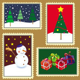 Christmas stamps. This image represents a set of four different stamps or paintings for Christmas Royalty Free Stock Photography