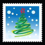 Christmas stamps. Illustrations with abstract christmas tree Royalty Free Stock Photos