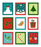 Christmas stamps. Christmas cute stamps collection - funny vector illustration Stock Photo