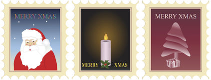 Christmas stamps. Vector illustration of three christmas postage stamps Royalty Free Stock Photo