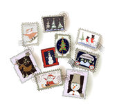 Christmas stamps collection Royalty Free Stock Photos