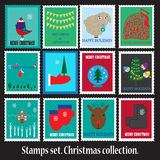 Christmas Stamps Collection Stock Photos