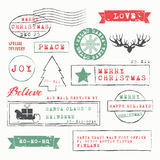 Christmas Stamps Collection. Vector Illustration Royalty Free Stock Photography