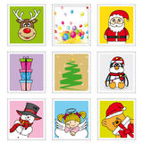 Christmas stamps. Fun illustrations of stamps with Christmas Royalty Free Stock Photos