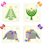 Christmas stamps isolated on white background. Royalty Free Stock Photography