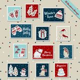 Christmas stamps-2017 postage stamp, stickers, scrapbook, label tag. A set of Christmas stamps, postage stamp, stickers, scrapbook, label tag with wool, gloves Stock Photography