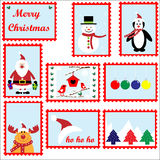 Christmas Stamps Set. Set of 9 decorative and fun Merry Christmas stamps Stock Photo