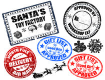 Christmas stamps set. Collection of isolatet gruge Christmas stamps on white background Royalty Free Stock Image