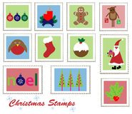 Christmas Stamps Set Stock Images