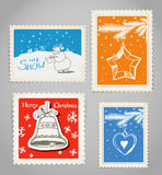 Christmas stamps set with hand-drawn pictures Stock Photo