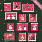 Christmas stamps. A set of Christmas stamps, postage stamp, scrapbook, gift tags with text, snowman, reindeer, tree, snowflakes, Christmas elements  background Royalty Free Stock Photo
