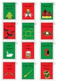 12 Christmas stamps with the twelve days of Christmas. On them vector illustration