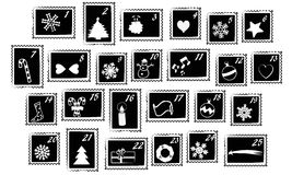 Christmas stamps vector - advent calendar. Sets of Christmas postage stamps usable for Advent Calendar - black and white, isolated vector Stock Photo
