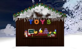 Christmas stand with toy and nocturnal snow landscape as backgro. Und. 3d rendering Stock Photography