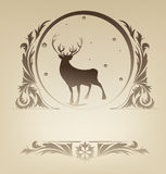 Christmas standing raindeer with rich ornament Stock Photography