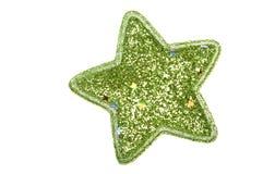 Christmas star. Shiny decorative green christmas star Stock Photos