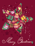 Christmas star. Christmas greeting card with star made of christmas ornaments Stock Photo