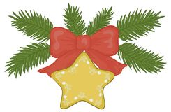 Christmas star. Christmas decoration: gold star with floral pattern, red bow and green fir branches Stock Images