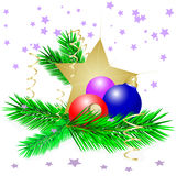 Christmas star. And three cristmas balls Royalty Free Stock Photo
