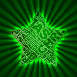 Christmas star. Green typographic glowing christmas star Stock Image