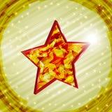 Christmas star. 3d red christmas star on shiny royalty free illustration