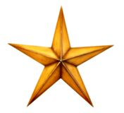 Christmas star. Old wooden Christmas star, isolated on white Stock Photo