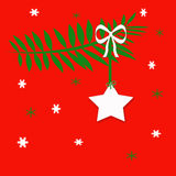 Christmas Star. Computer Illustration; White Christmas star ornament hanging from green branch with white bow; red background with snowflakes Stock Photo