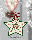 Christmas star. Christmas greeting card with heartwarming winter decoration Royalty Free Stock Photos