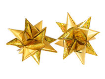 Christmas star. Paper christmas star gold decoration closeup selected Royalty Free Stock Photos