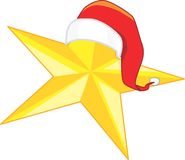 Christmas star. In yellow with Santa clause hat Stock Images