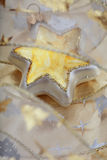 Christmas star. Close-up shot of Christmas decorations, star and sheer band Stock Image