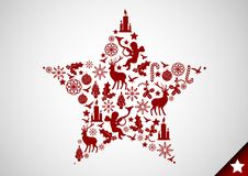 Christmas Star. A christmas star made up of various christmas elements. Vector illustration Stock Photography