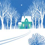 Christmas star above the house and trees. royalty free illustration