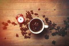 Christmas star anise tea and alarm clock Royalty Free Stock Photography
