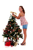 Christmas star. Attractive young woman Royalty Free Stock Photos