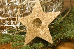 Christmas star background. Christmas star and other decoration composition closeup Royalty Free Stock Photos