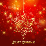 Christmas star background. Christmas background with hanging star Stock Image