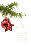Christmas  star and ball isolated Royalty Free Stock Photo