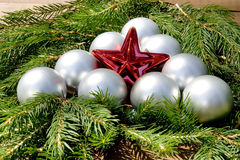 Christmas star with balls Stock Photos
