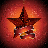 Christmas star and banner Royalty Free Stock Images