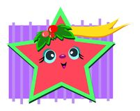 Christmas Star with a Banner. Here is a cute Star celebrating Christmas joy Stock Photo