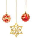 Christmas star and baubles Royalty Free Stock Images