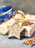Christmas star, baubles and Christmas present. Christmas decoration. royalty free stock image