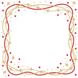 Christmas star beads garland frame Royalty Free Stock Image